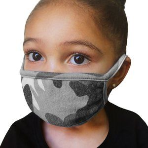 Reusable Face Mask for Kids - Gray Camo - Unisex